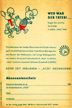 """1965 - Bestellschein für ein Abo der Kinderzeitschrift """"ATZE"""" mit 16 Seiten Inhalt und einem monatlichen Kostenbeitrag von 0,20 DDR-Mark - (!) Sehr selten (!)"""