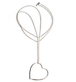 Fließend leichte lange Halskette mit großem XL Herz Anhänger aus Silber