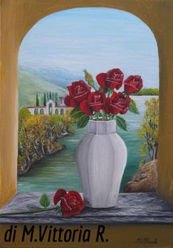 vaso con rose rosse, olio su tela cm 35x50, anno 2008
