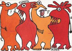 """Krafttiere"",  Acryl auf Leinwand  24/17cm  08/2006"