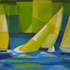 Segelboote/Grün, Acryl auf Leinwand,        60 x 60 cm, 2014