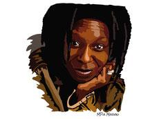 disegno-drawing-ritratto-portrait-digital-art-Whoopi Goldberg-primo-piano-sguardo-intenso