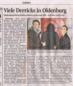 """Zeitungsartikel der Oldenburger Sonntagszeitung vom 17.12.2006: """"viele Derricks in Oldenburg"""" - Quelle: Oldenburger Sonntagszeitung"""