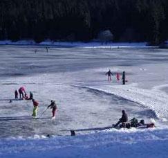 Lac Genin, plongée sous la glace et patinage, activité proposée par le Gîte de Giron dans l'Ain