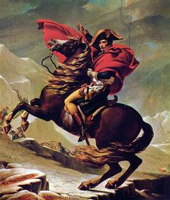Bonaparte beim Überschreiten der Alpen am Großen Sankt Bernhard (Gemälde von Jacques-Louis David, 1800). Public Domain