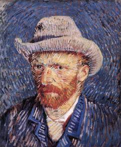 """""""Autoportrait au chapeau de feutre"""", 1887 par Vincent Van Gogh ; huile sur toile ; img DP"""