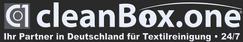 Startseite cleanBOXone, unter Kontakte Logo in weiß eingefügt