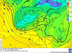Höhenwetterkarte einer antizy. Südwestlage. | Bildquelle: Deutscher Wetterdienst