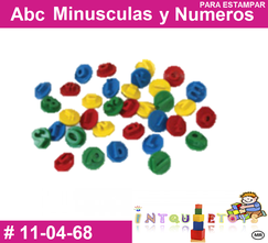 Abc minusculas y numeros para estampar MATERIAL DIDACTICO PLASTICO INTQUIETOYS PRIMERDI