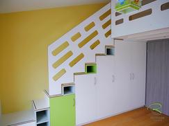 Galerietreppe mit integriertem Schrank, Kinderzimmer Treppenschrank, Einbauschrank-Treppenschrank,
