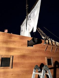 Halloweendeko, Piratenschiff, Dekoration, Halloweenhaus Lüneburg, Halloweenprojekt 2019