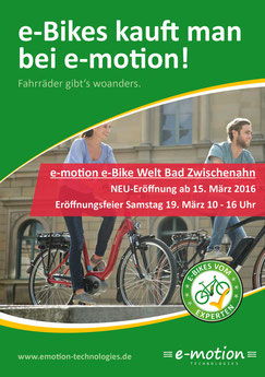 e-motion e-Bike Welt Bad Zwischenahn: Kommen Sie vorbei zur Neueröffnung am 15. März 2016