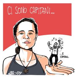 Sea Watch3-Kapitänin, Carola Rackete hält das italienische Rumpelstilzchen, Matteo Salvini, in der Hand