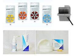 Hörgeräte-Batterien, Cerustop-Filter, REinigungsspray, Trockenkapseln