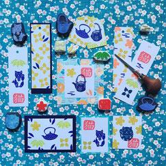 Tampons Japon théière chat maneki-neko motifs japonais Le Héron Graveur
