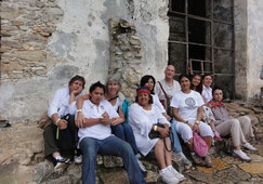 Part of the group in a temple in Palenque