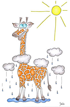 Geburtstagskarte Giraffe mit Kopf an der Sonne