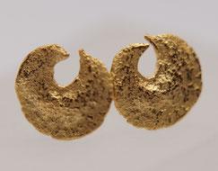 kleine Silberohrstecker vergoldet Halbmond