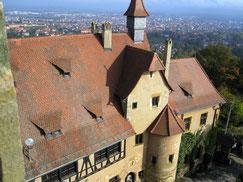 Altenburg, Blick vom Bergfried auf den Palas