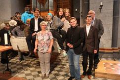 Christian Ehring (l. sitzend) , Mechthild und Tim Schmölders, Oliver Steinbrecher (v.l. stehend), Michael Brocherhoff (verdeckt) (Foto: Fröhling)