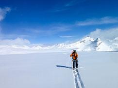 大氷原の上を縦走中