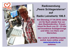 """Radiosendung """"Peers Schlagersterne"""" am 17.04.2018 bei radio leinehertz 106.5 in Hannover"""
