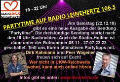 """Radiosendung """"Partytime"""" am 22.12.2018 bei Radio Leinehertz 106.5 von 19 - 22 Uhr"""