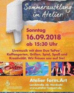 Peer Wagener ist am 16.09.2018 mit Duo TaPee' unterwegs bei Sommerfest vom Atelier form.art in der Nähe von Stadthagen