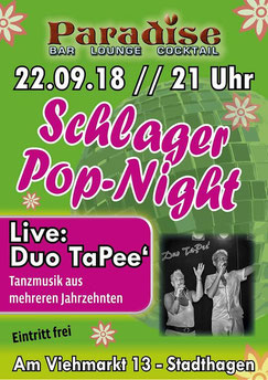 Peer Wagener ist am 22.09.2018 mit Duo TaPee' in der Cocktailbar PARADISE in Stadthagen live zu erleben