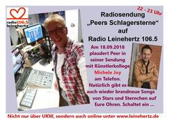 """Radiosendung """"Peers Schlagersterne"""" am 18.09.2018 bei Radio Leinehertz 106.5 von 22 - 23 Uhr"""