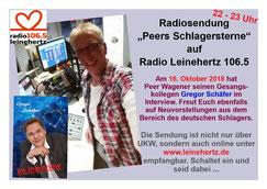 """Radiosendung """"Peers Schlagersterne"""" am 16.10.2018 bei Radio Leinehertz 106.5 von 22 - 23 Uhr"""