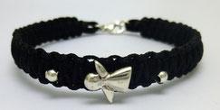 geknüpftes Armband aus Leder und Makramee-Garn mit Silber-Engel, Handarbeit