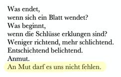 """Gedicht """"Die Schlüsse eines Anfangs"""""""