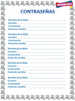 Organiza tus contraseñas de la web para no olvidarlas - www.AorganiZarte.com