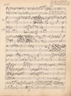 直筆下書き。2段目からがオルガン協奏曲