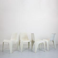 4er Set Stühle BA1171, Helmut Bätzner für Bofinger, weiß