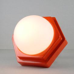 space age Wandlampe Deckenlampe orange HP Leuchten Opalglas vintage Hexagon 70er