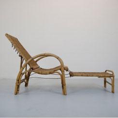 antike Gartenliege Bambus Rattan wicker Chair Erich Dieckmann Sonnenliege Sessel