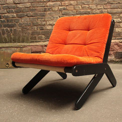 70er Jahre Loungchair Cord orange