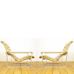 Sessel Asko Pulkka Ilmari Lappalainen cognac Leder Aluminium Easy Chair Lounge chair mid century Design.