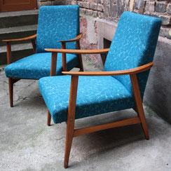 Teakholz Easy Chair vintage Sessel petrol