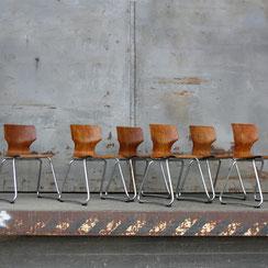 6er Set Flötotto Stapelstühle, Pagholz, Conni Kern Interior, Designklassiker und vintage Möbel in Mannheim
