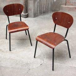 2er Set vintage Schulstühle, Stahlrohr und Holz, Conni Kern Interior, Mannheim