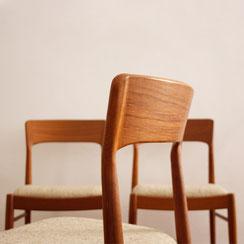 6er Set Esszimmerstühle aus Teakolz; Kai Kristiansen für Korup Stolefabrik, made in Denmark. Conni Kern Interior, vintage Möbel, Leuchten und Objekte. Designklassiker in Mannheim.
