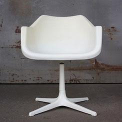 Polypropylen Chair, Robin Day für Hille, weiß, drehbarer Sternenfuß, Conni Kern Interior, Designklassiker und vintage Möbel in Mannheim