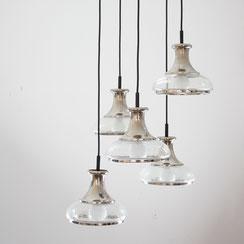 kaskadierende Pendelleuchte Glas Chrom Sische. Conni Kern Interior, vintage Möbel, Leuchten und Objekte. Designklassiker in Mannheim.