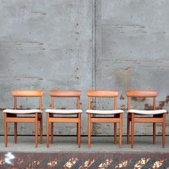 4er Set mid century Teak Stühle, 1960er . Conni Kern Interior, vintage Möbel und Designklassiker in Mannheim.