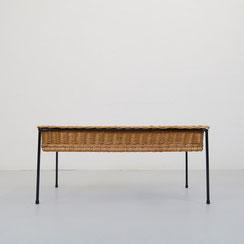 vintage Couchtisch Beistelltisch Rattan Draht Tisch coffee table 60er 70er Jahre