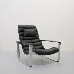 Mid-Century Pulkka Lounge Chair, Ilmari Lappalainen for Asko, 1960s, black leather
