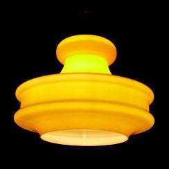 große Pendelleuchte aus gelbem Glas, Peill & Putzler, 1960er Jahre Hängelampe . Conni Kern Interior, vintage Möbel, Leuchten und Objekte. Designklassiker in Mannheim.